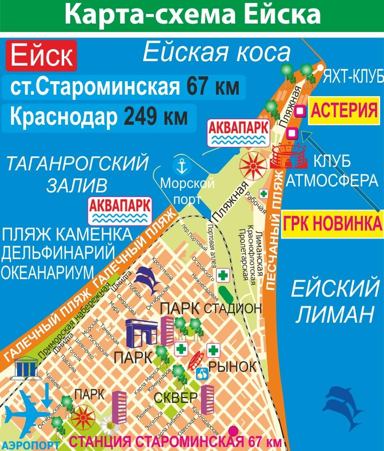 Карта Ейска